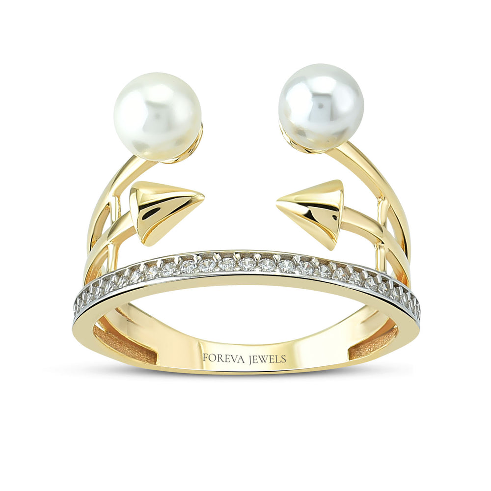 Minimalist Two Arrow And Two Pearl Gold Plated 925K Silver Ring
