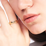 Minimalist Triangle Stone Shape Gold Plated 925K Silver Ring