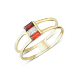 Minimalist Red White Red Stone Empty Middle Two Line Gold Plated 925K Silver Ring