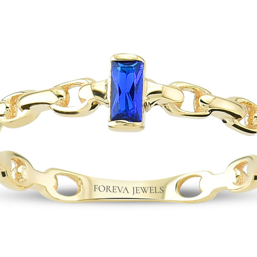 Minimalist Blue Baguette Gold Plated 925K Silver Ring