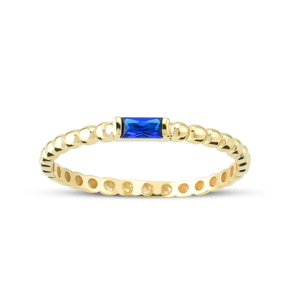 Minimalist Blue Baguette Bounce Chain Gold Plated 925K Silver Ring