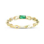 Minimalist Baguette Green Stone Chain Gold Plated 925K Silver Ring