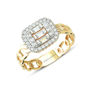 Minimalist Baguette  Stone Chain Line Gold Plated 925K Silver Ring