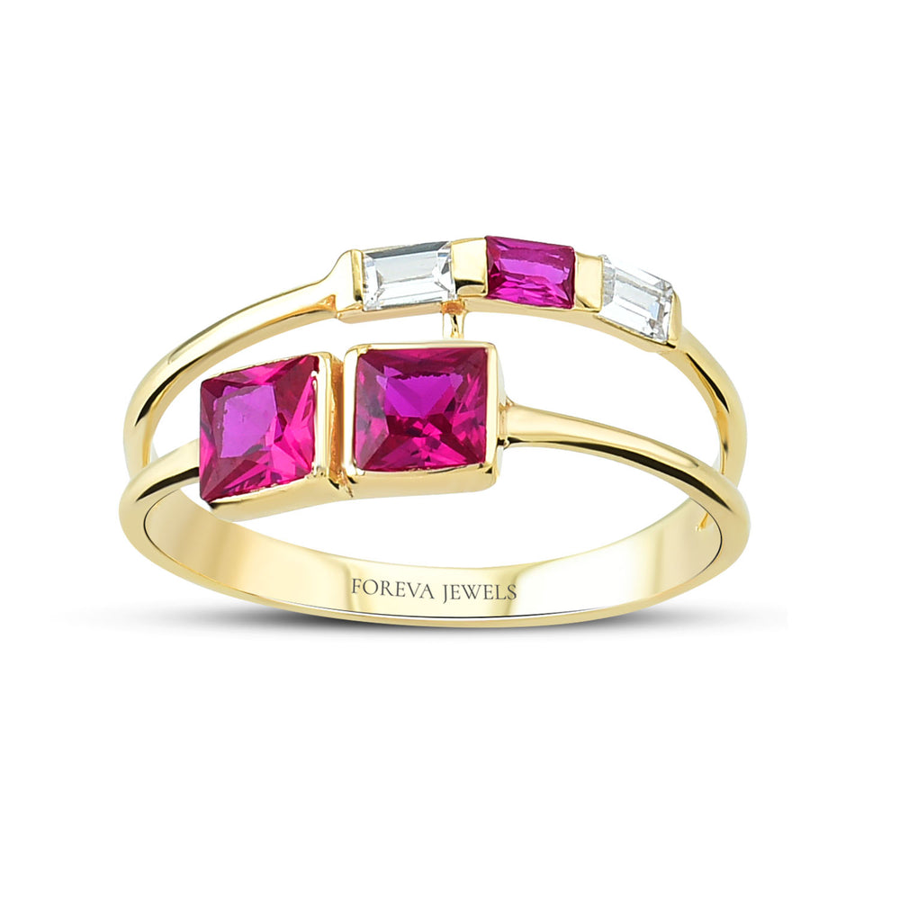 Minimalist Purple Stone Gold Plated 925K Silver Ring