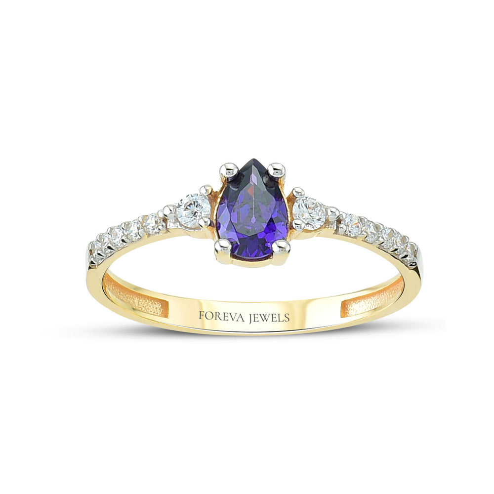 Minimalist Purple Tear Drop Stone Stringed Stone Line Gold Plated 925K Silver Ring