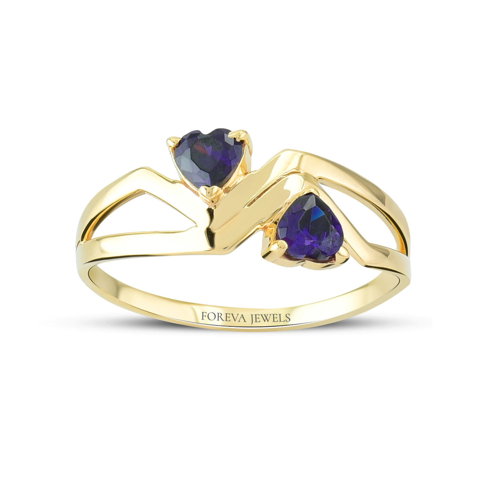 Minimalist Cute Heart To Heart Stone Shape Gold Plated 925K Silver Ring