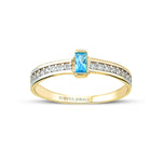 Minimalist Baguette Stringed Stone Line Gold Plated 925K Silver Ring