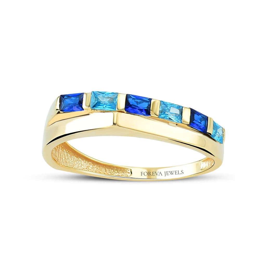 Minimalist Baguette Line Gold Plated 925K Silver Ring