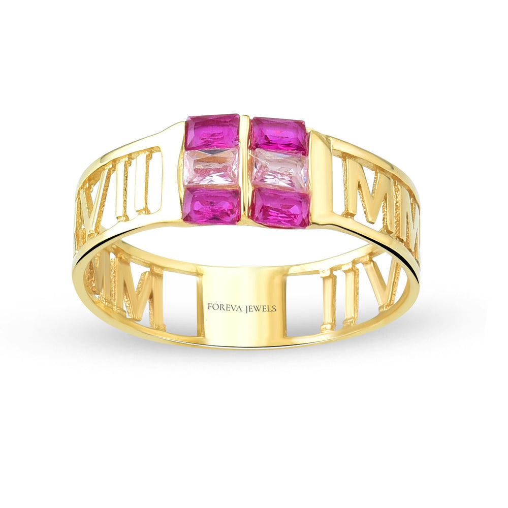Minimalist Baguette Roman Numeric Line Gold Plated 925K Silver Ring