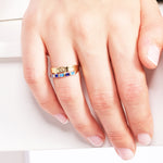 Minimalist Cute Stringed Stone Line Gold Plated 925K Silver Ring