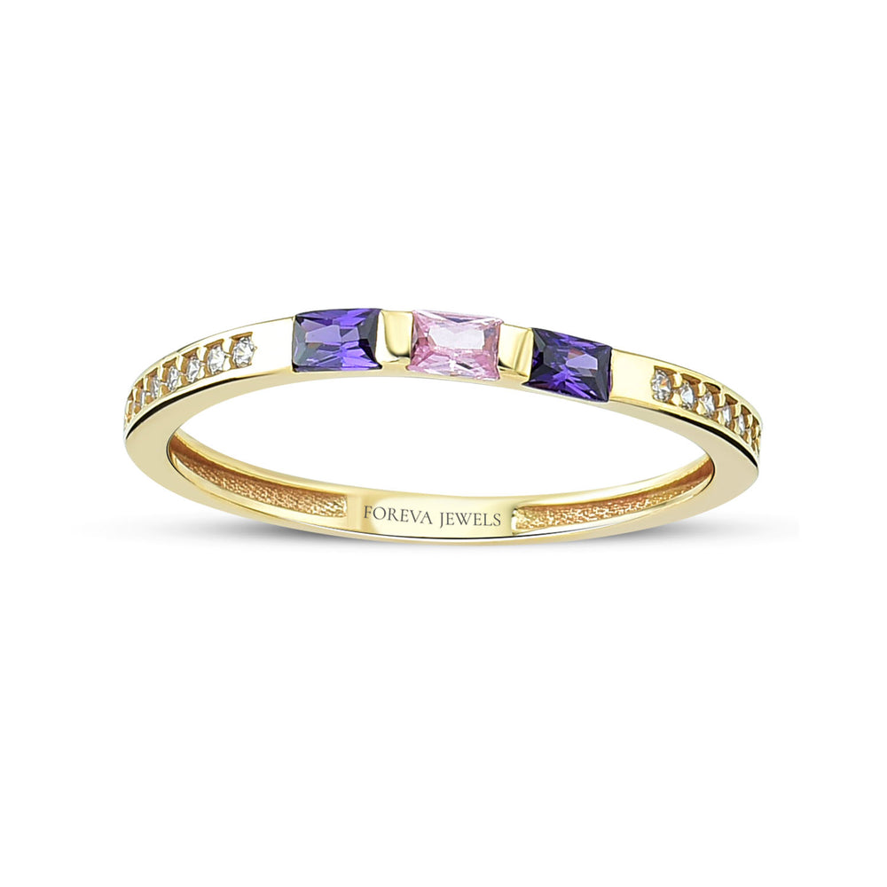 Minimalist Purple Pink Stone Stringed Stone Line Gold Plated 925K Silver Ring