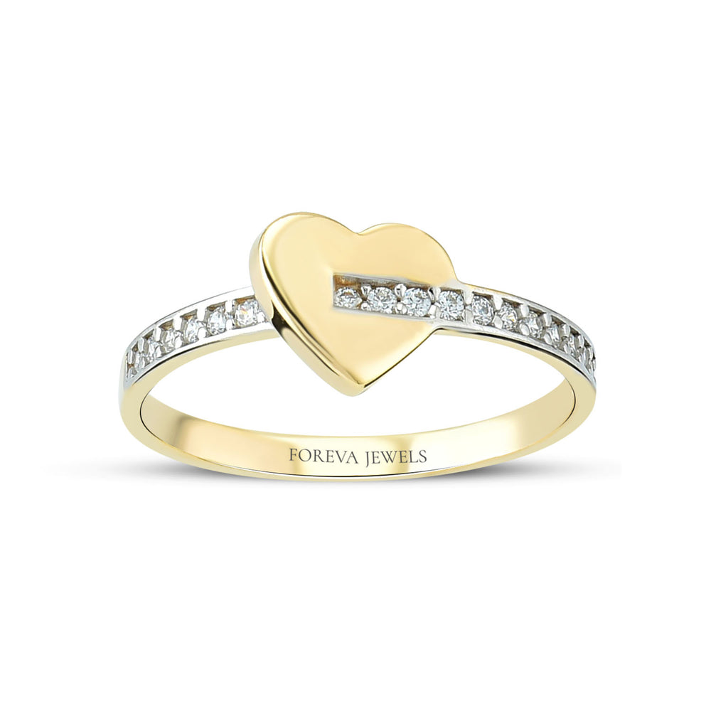 Minimalist Heart Shape Stringed Line Gold Plated 925K Silver Ring