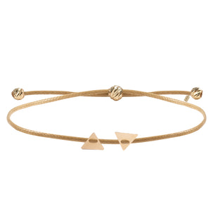 Minimalist Cute Reverse Double Triangle Shape 14K Gold Bracelet