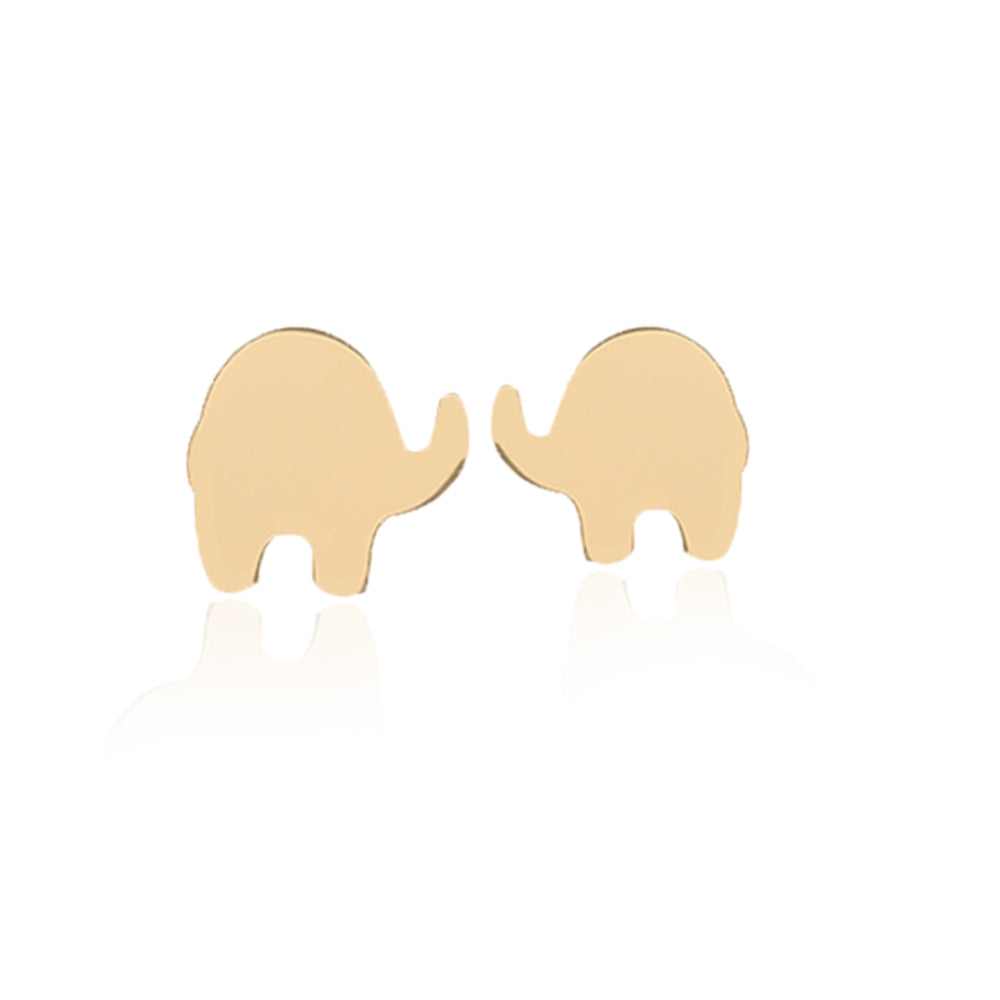 Minimalist Cute Elephant Design 14K Gold Earring