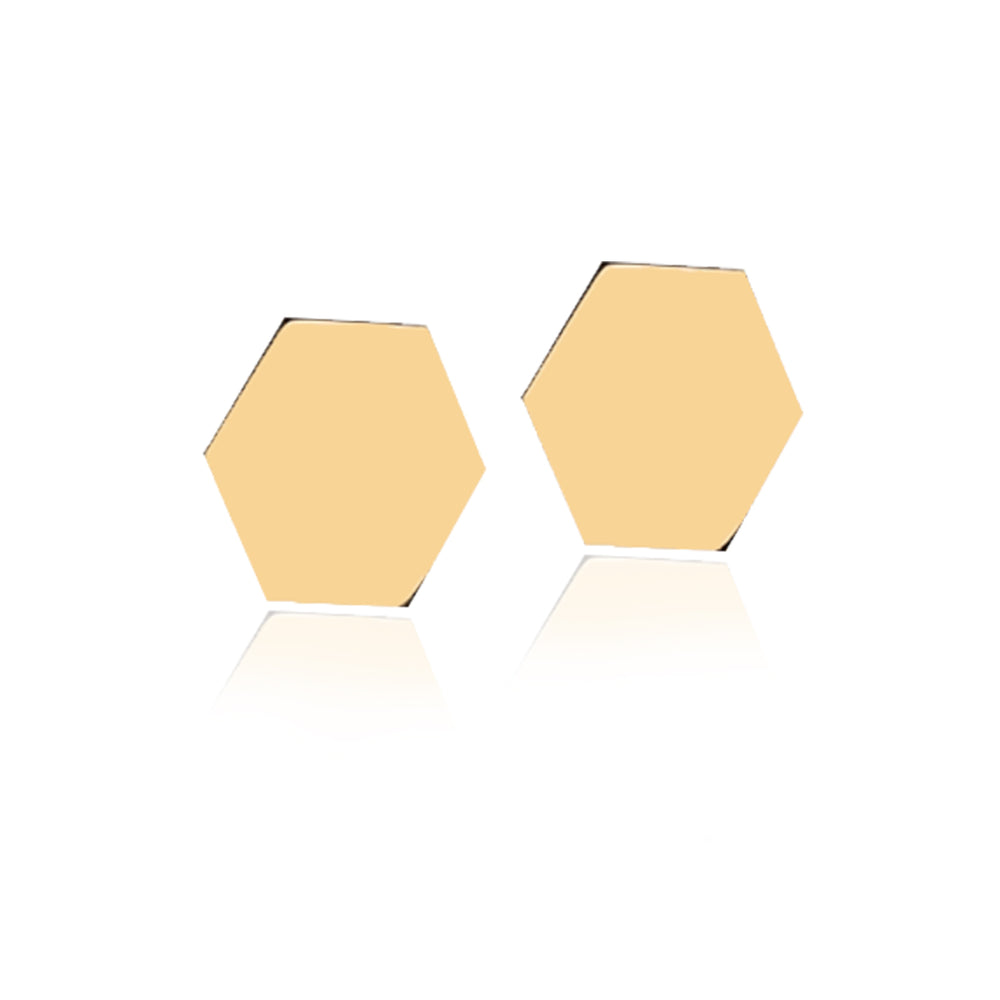Minimalist Cute Hexagon Design 14K Gold Earring