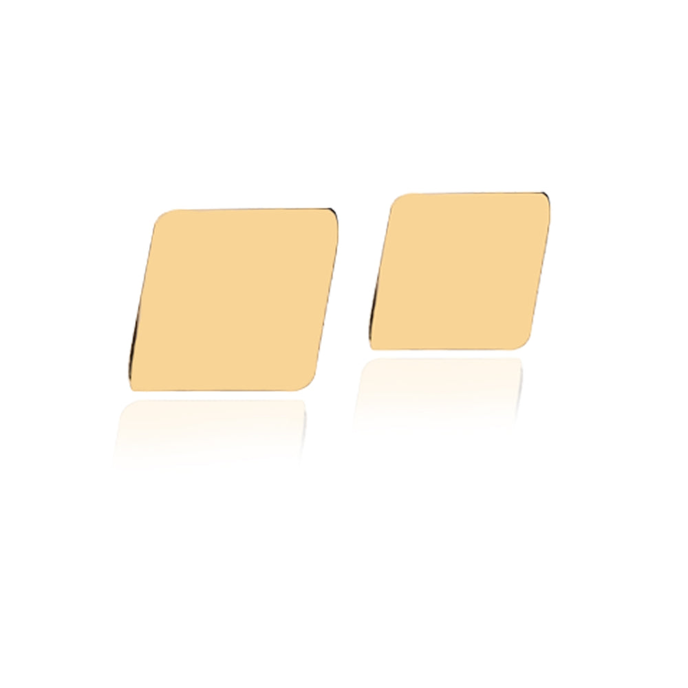 Minimalist Cute Square Side Design 14K Gold Earring