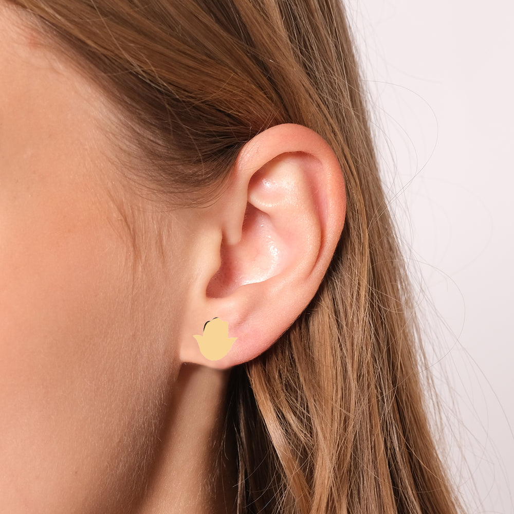 Minimalist Cute Hamsa Design 14K Gold Earring