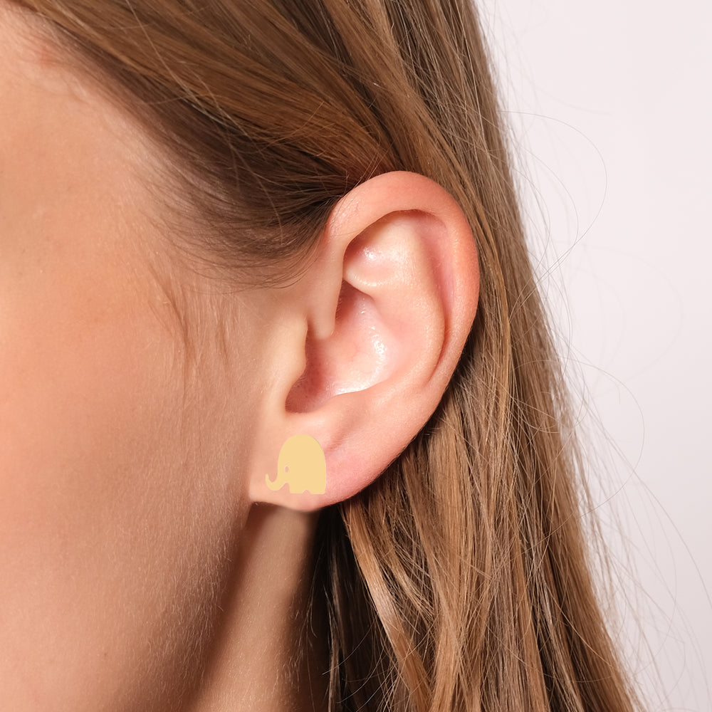 Minimalist Cute Elephant Shape Design 14K Gold Earring