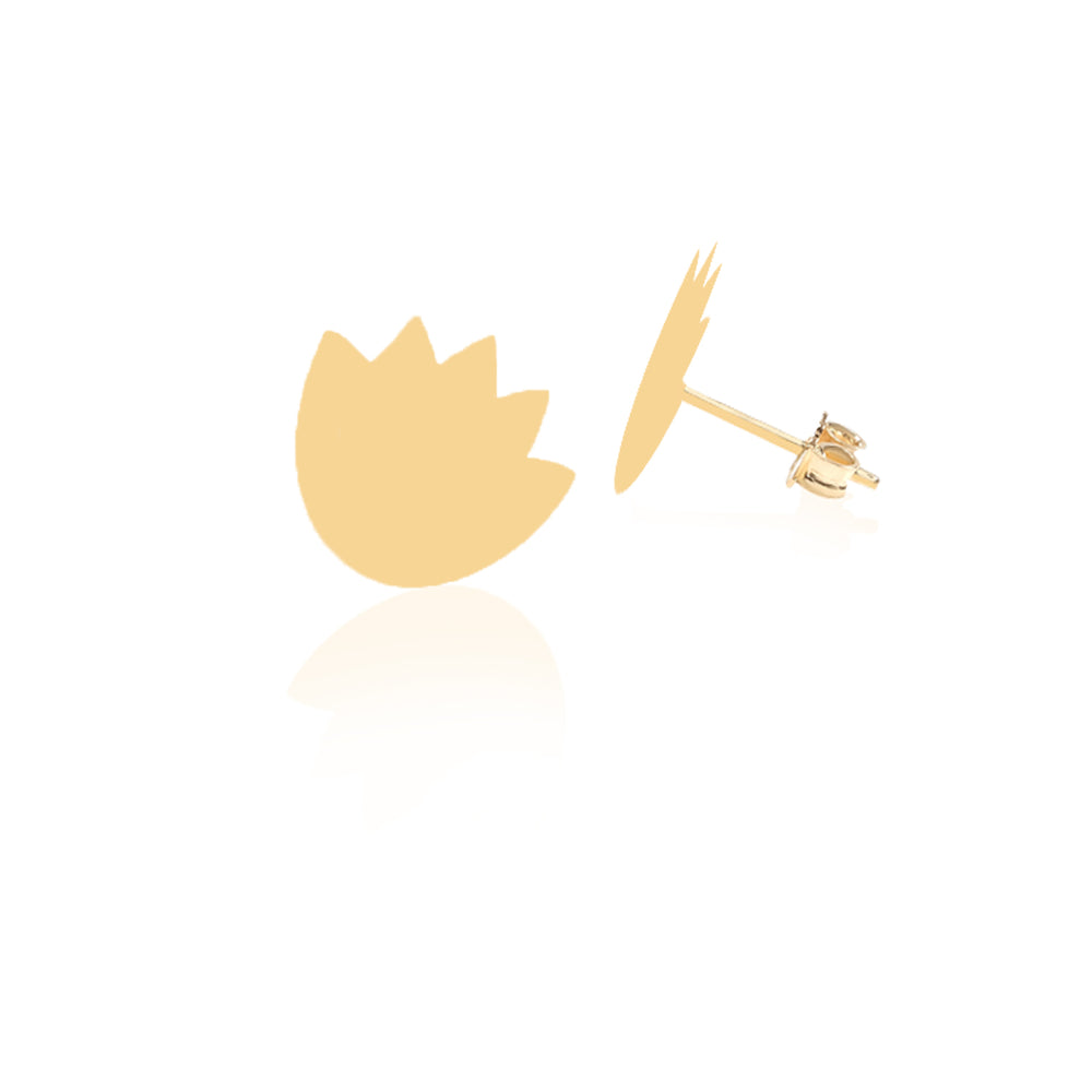 Load image into Gallery viewer, Minimalist Cute Lotus Leaf Design 14K Gold Earring