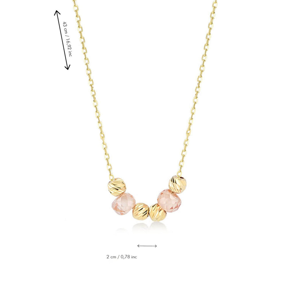 Shinning Ball and  Bead Gold Plated 925K Silver Pendant Necklace