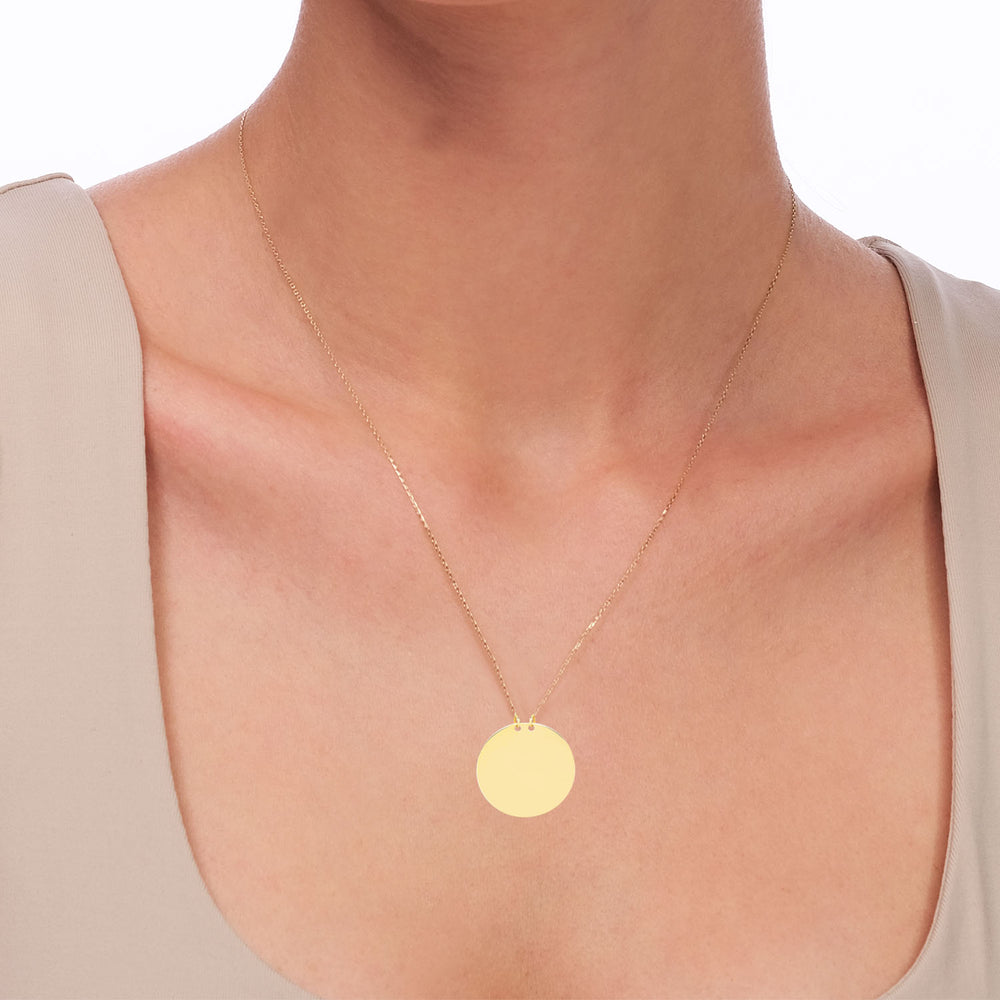 Mirror Polished  Engravable no.4 14K Gold Pendant Necklace