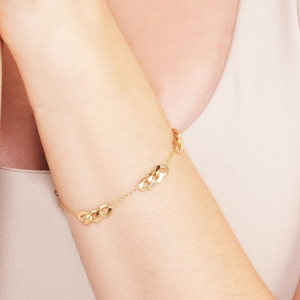 Auger Ring Bead Gold Plated 925K Silver Bracelet