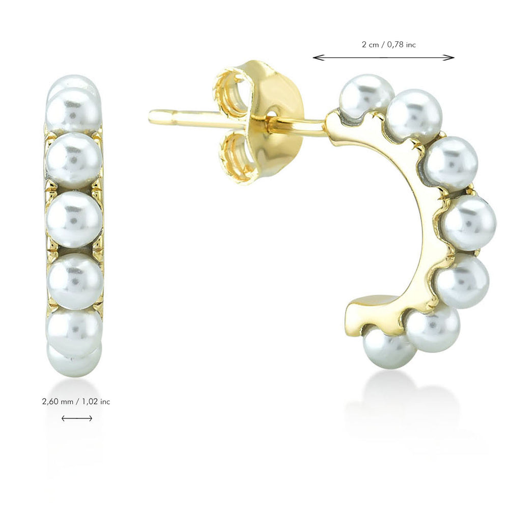 Load image into Gallery viewer, Half Circular With Pearl 925K Silver Earring