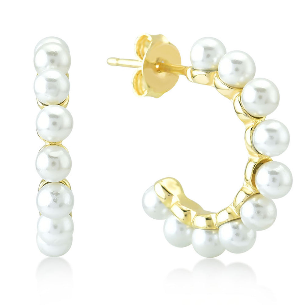 Big Half Circular With Pearl 925K Silver Earring
