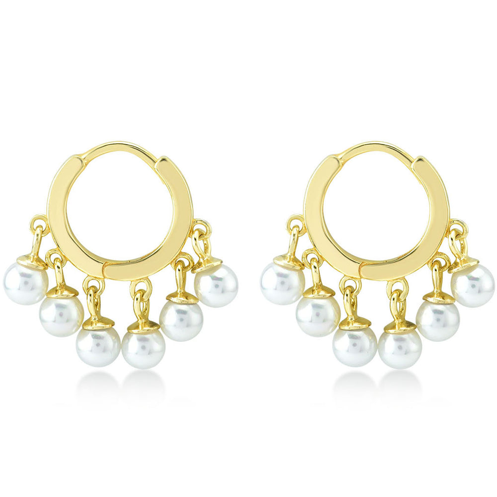 Circular With Pearl 925K Silver Earring