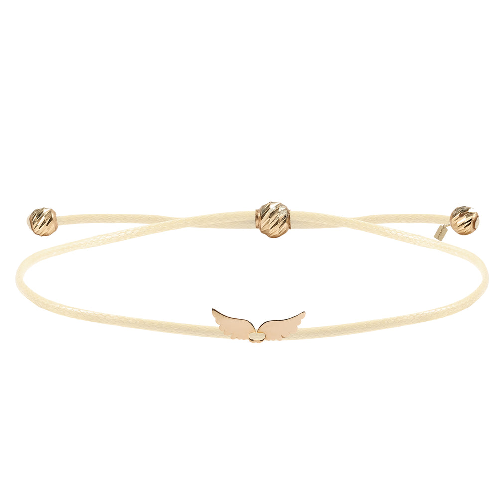 Minimalist Cute Angel Wings Design 14K Gold Bracelet
