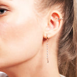 Lightning And Star Earring Tip  Blue Bounce Long Chain Rose Gold Plated 925K Silver Earring