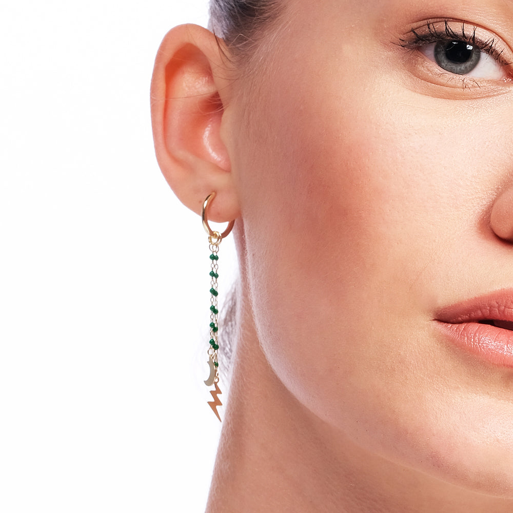 Moon And Lightning Earring Tip Green Bounce Long Chain Gold Plated 925K Silver Earring