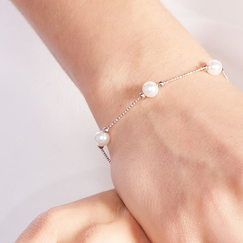 Five Pearl Ring Gold Plated 925K Silver Bracelet