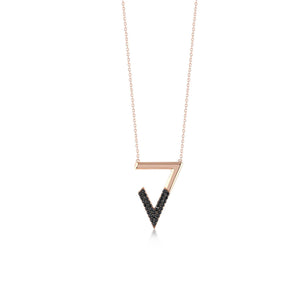 Triangle V Shape Stones Rose Gold Plated 925K Silver Necklace