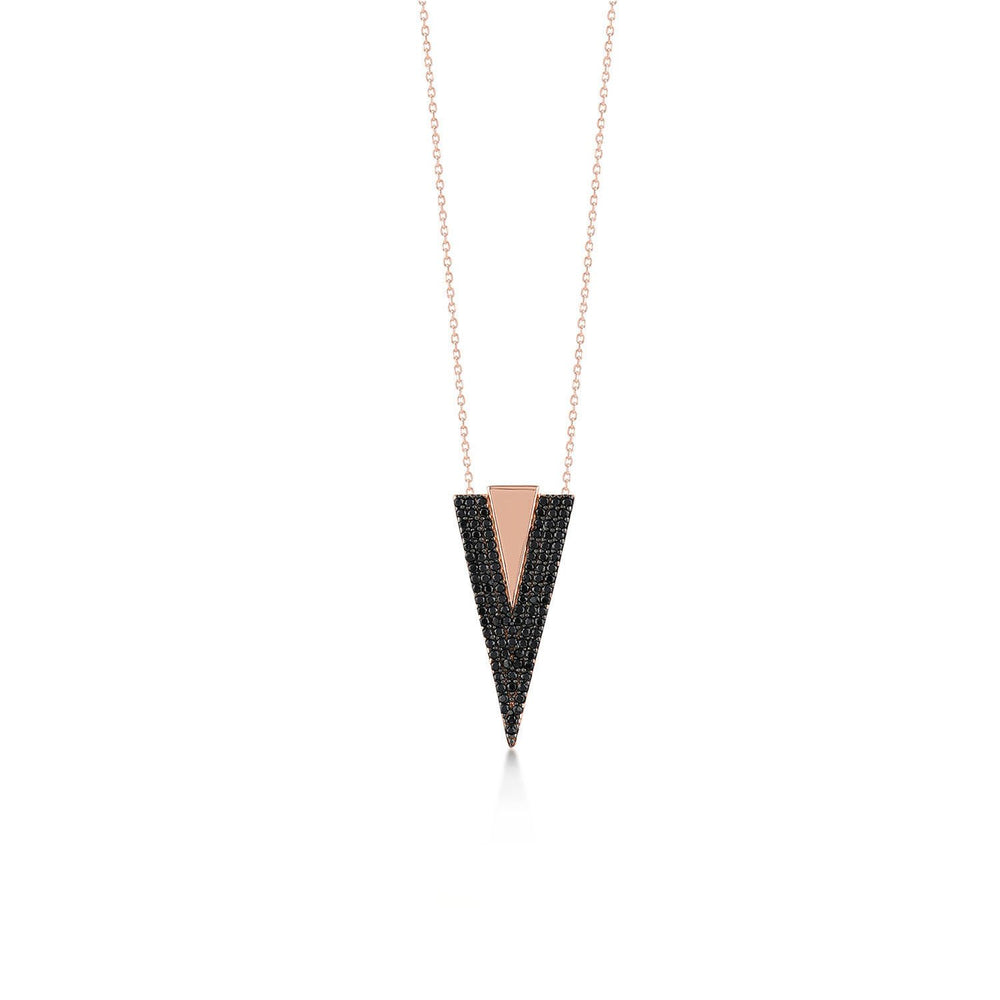 V Shape Stones Rose Gold Plated 925K Silver Necklace