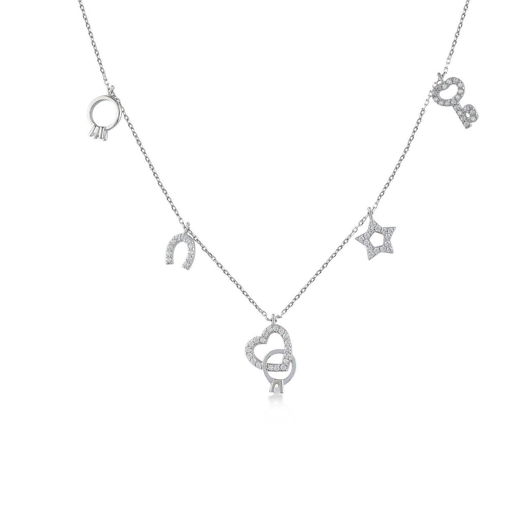 Key Star Horseshoes Heart Ring 925K Silver Necklace