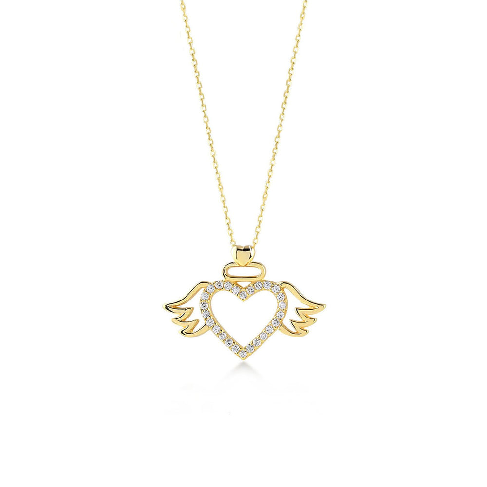 Wings Heart Gold Plated 925K Silver Necklace