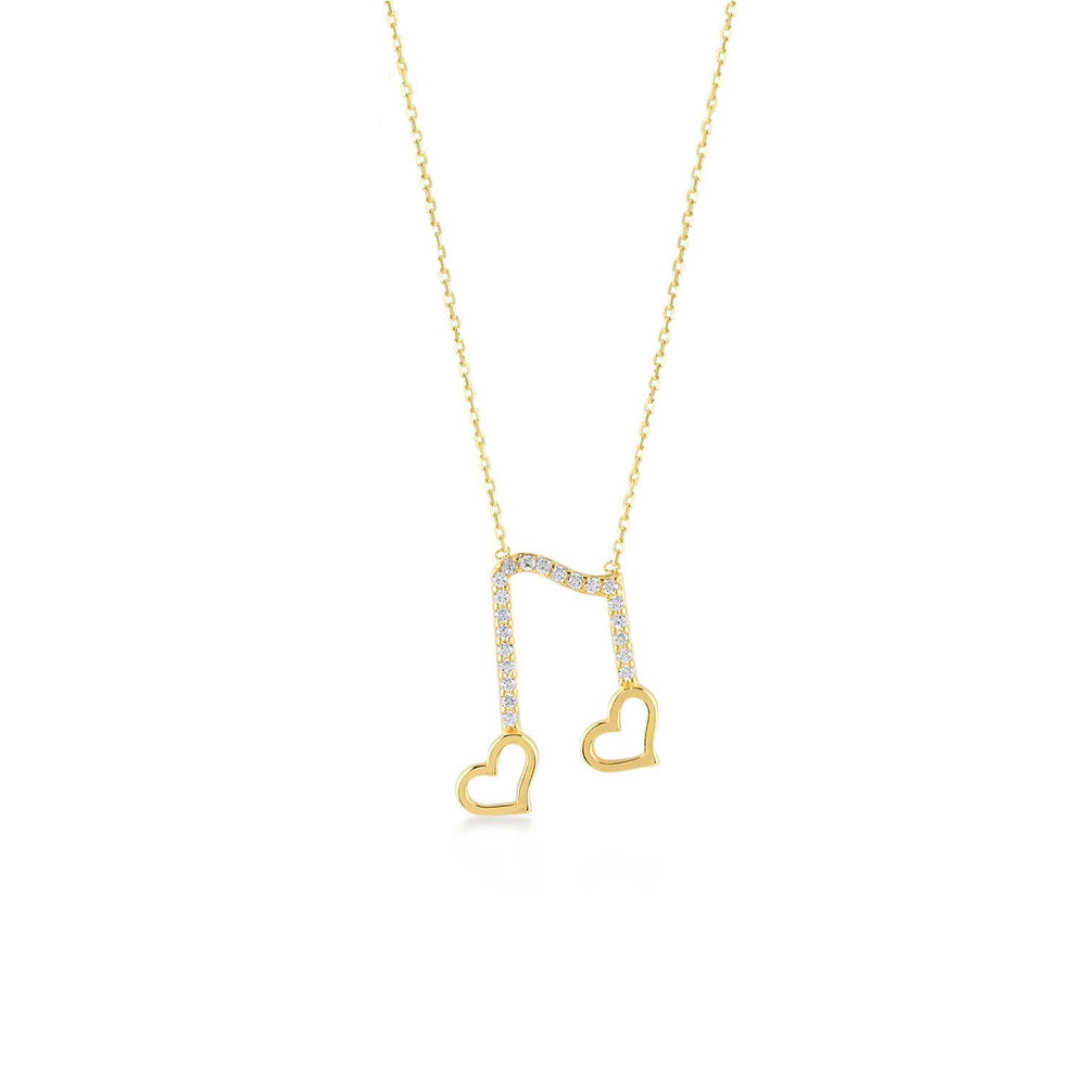 Two Heart Musical Note Gold Plated 925K Silver Necklace