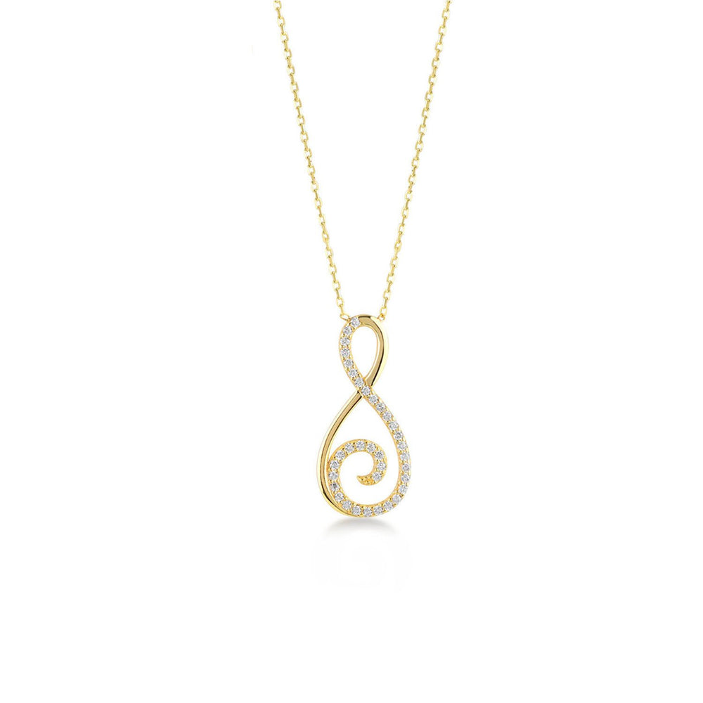 Treble Clef And Infinity Gold Plated 925K Silver Necklace