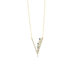 V Shape Stones Gold Plated 925K Silver Necklace