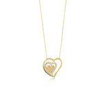 Triple Heart Two Empty One Stones Gold Plated 925K Silver Necklace
