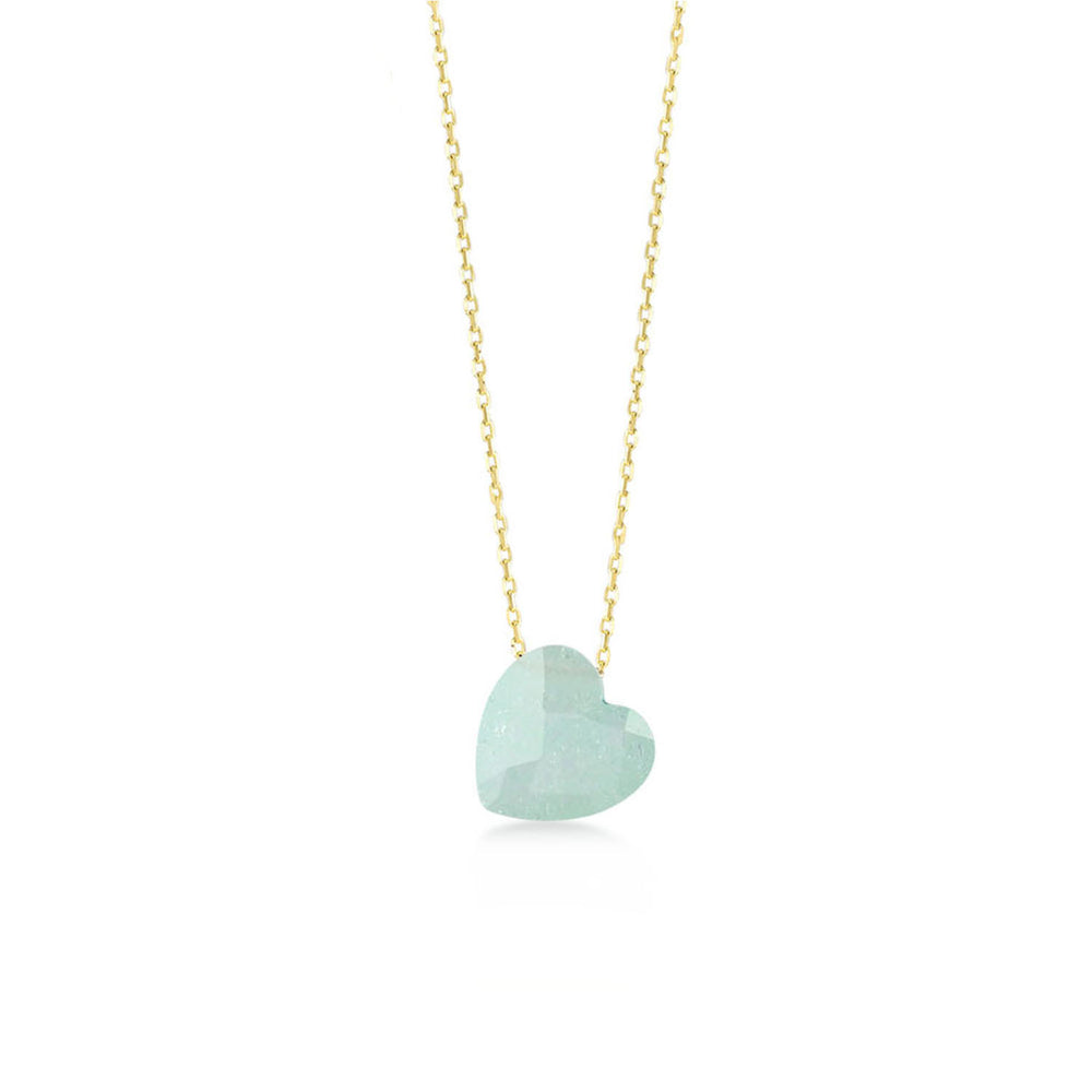 Mint Green Heart Moon Stone Gold Plated 925K Silver Necklace