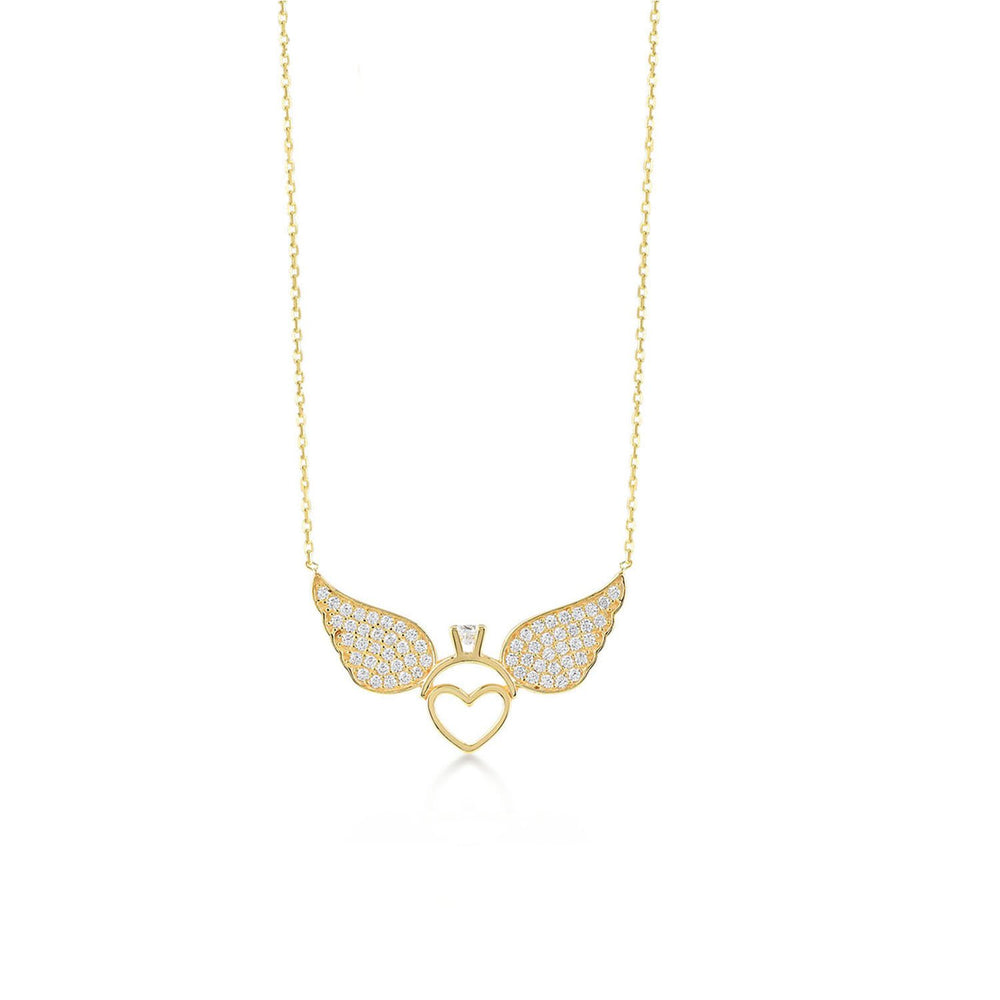 Angel Wing Stones Ring Gold Plated 925K Silver Necklace