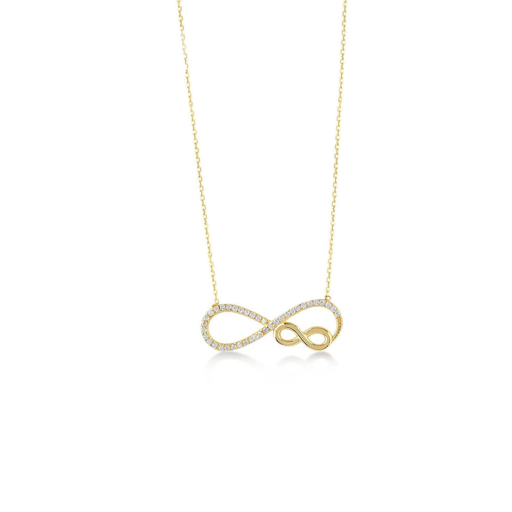 Infinity to Infinity Stones Gold Plated 925K Silver Necklace