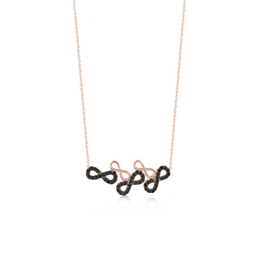 Triple Black Stones Infinity Triple Empty Innfinity Rose Gold Plated 925K Silver Necklace