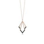 Triangel Shape Black Stones Rose Gold Plated 925K Silver Necklace