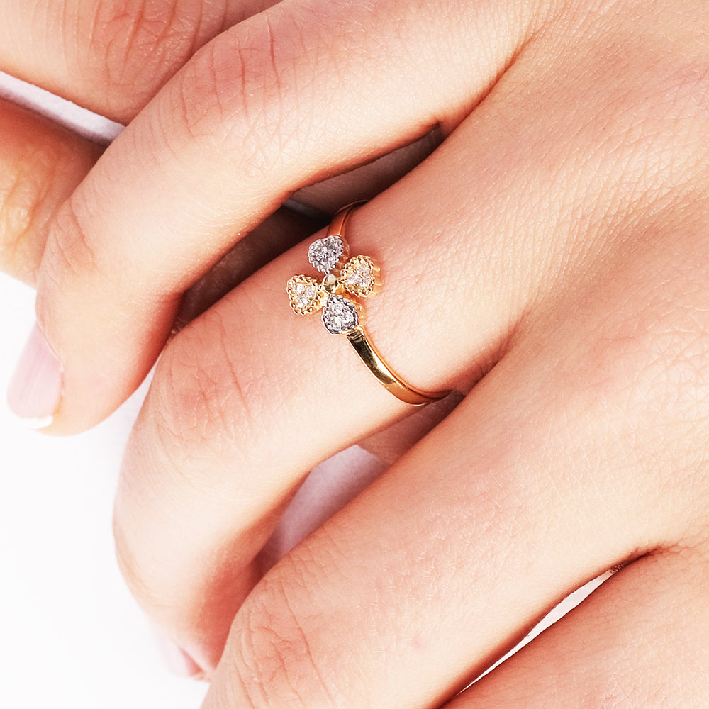Minimalist Cute Four Leaf Clover For Charm Gold Plated 925K Silver Ring