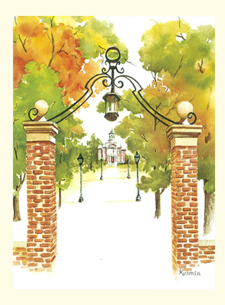 Single Campus Gates Fall Print