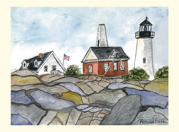 Single Pemaquid Point Lighthouse Card