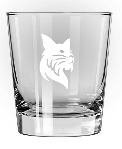 13oz Cocktail Tumbler with Etched Bobcat